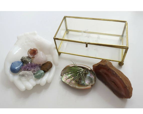 Crystal Gift Set Glass & Brass Vintage Trinket Box Chakra Starter Kit Gemstones Amethyst Rose Quartz Pyrite Tigers Eye Aventurine Quartz