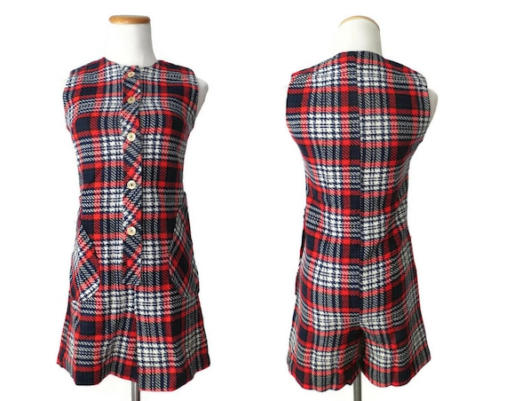 60's Plaid Romper / Mod Playsuit / 1960's Red Romper / Preppy Romper / 60's Playsuit / Wool Romper / Size Small / Red White Blue