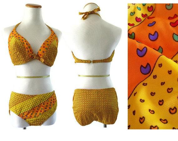 Mod Bikini Swimsuit / 60's Bikini / 1960's Bathing Suit / Medium Large / Flower Power Print / Hippie Bikini / 36D / Psychedelic Swimsuit