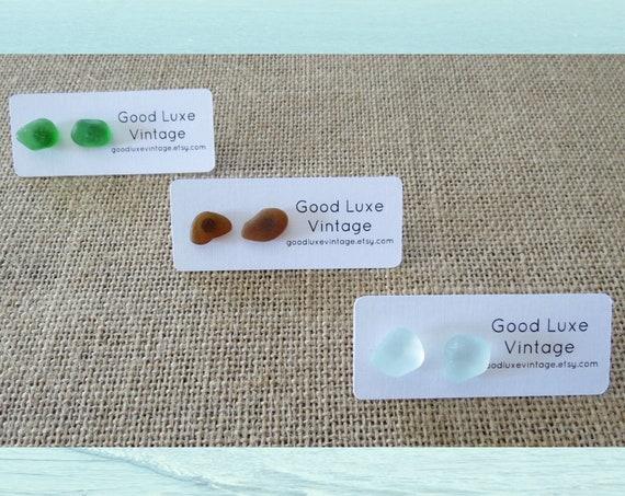 Sea Glass Earrings / Seaglass Studs / Genuine Beach Glass Studs / Ocean Jewelry / Gift for Her / Mermaid Earrings / Brown Green Blue Clear