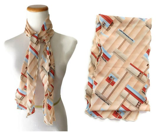 Vintage Levi's Scarf / 70's Scarf / Scalloped Scarf / 1970's Scarf / Abstract Print Scarf / Levis Scarf / Vintage Hair Scarf / Earth Tones