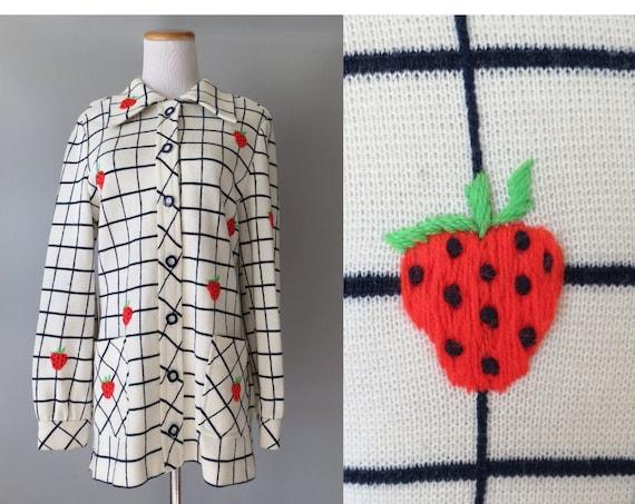 Strawberry Jacket / Strawberry Embroidered Jacket / Novelty Jacket / 60's Mod Jacket / Size Medium M Small S / Kawaii Fruit