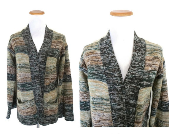 Space Dye Cardigan / 70's Wrap Sweater / Space Dyed Sweater / 1970's Open Cardigan / Hippie Sweater / Boho Cardigan / Size Small Medium