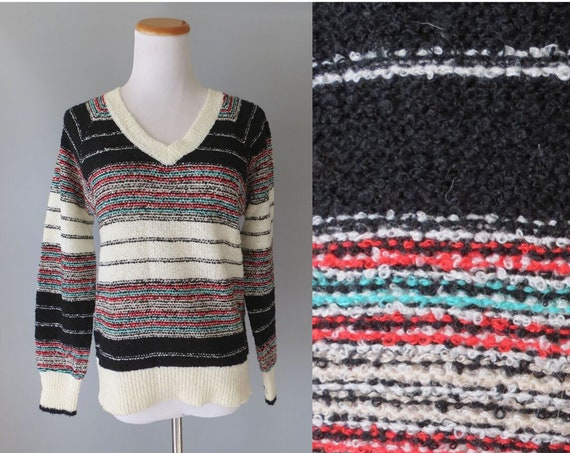 70's Striped Sweater / 1970's Nubby Pullover Sweater / Lurex Metallic Thread / Size Medium M / Boho Hippie Sweater / Fall Autumn