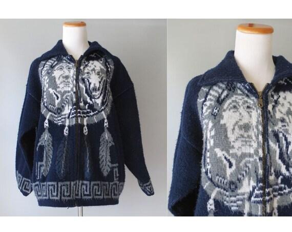 Vintage Cowichan Sweater Zip Up Cardigan