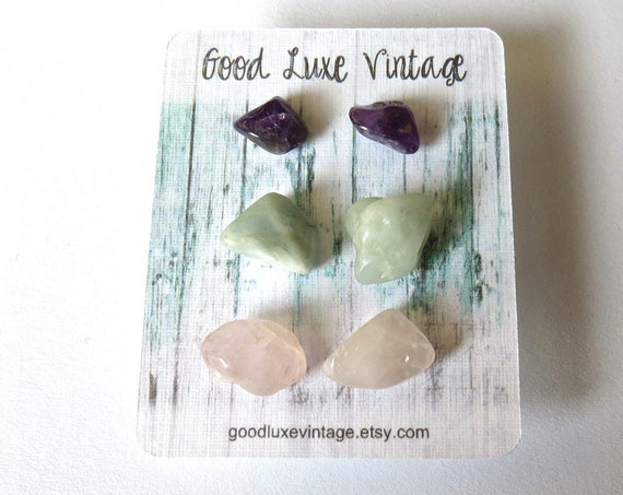 Crystal Earring Set Natural Tumbled Gemstones Amethyst Aquamarine Rose Quartz Bridesmaid Gift for Her Boho Bohemian