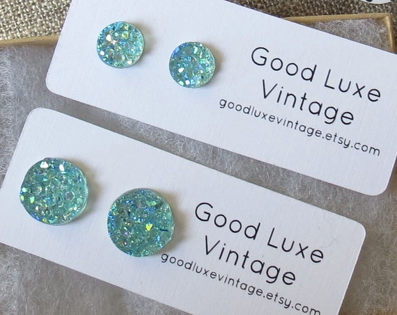 Aqua Druzy Earrings Crystal Studs Light Blue Sparkly Sparkle 8mm 12mm Fake Plugs Gift for Her