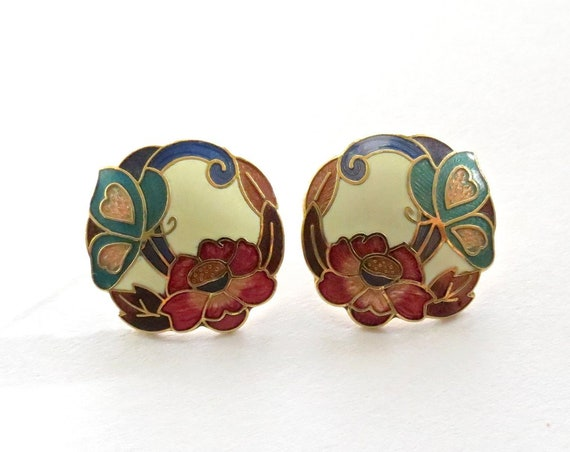 Butterfly Stud Earrings / Floral Cloisonne Earrings / Cloisonne Stud Earrings / Enamel Jewelry / Gift for Her / 1980's Earrings
