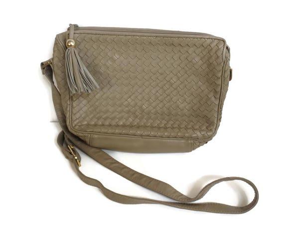 Woven Purse Vegan Faux Leather Shoulder Bag