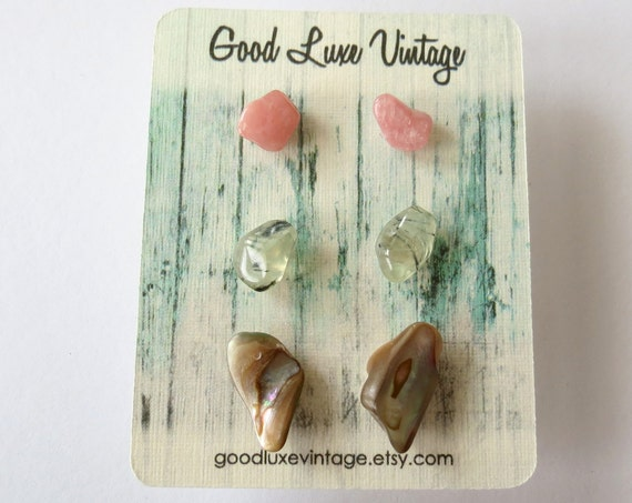 Crystal Earring Set Natural Tumbled Gemstones Pink Agate Prehnite Abalone Shell Bridesmaid Gift for Her Boho Bohemian