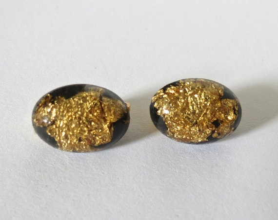 Gold Foil Earrings / Clip On Studs / Holiday Earrings / Black & Gold Clip Ons / Minimalist Jewelry / Metallic Gold Earrings