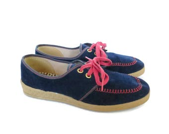 Corduroy Shoes 70s Wedge Sneakers Size 5.5 1970s Lace Up Flats Blue Pink Rubber Soles Vegan Hippie Indie Hipster