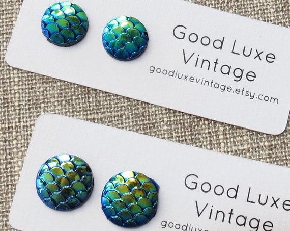 Blue Iridescent Earrings / Mermaid Earrings / Teal Studs / Fish Scale Earrings / 10mm 12mm / Dragon Scale Earrings / Gift for Her