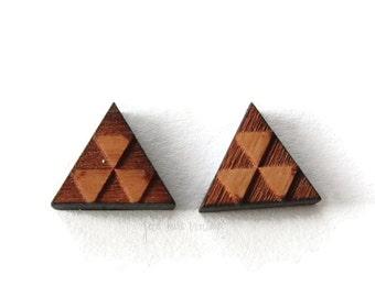 Triangle Earrings Wood Studs Geometric Shape Jewelry Cherrywood Natural Jewelry Nickel Free Posts
