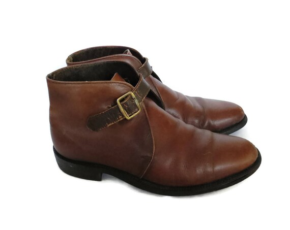 Men's Mod Boots / Beatle Boots / Made in England Shoes / Size 8 / Brown Leather Boots / 60's Boots / 1960's Shoes / Buckle Boots