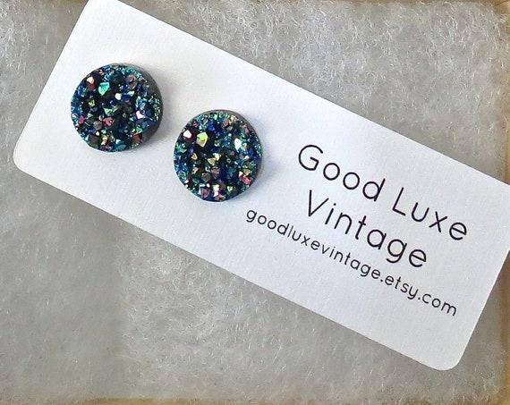 Blue Rainbow Druzy Earrings / Copper Blue Druzy Studs / Sparkly Earrings / Faux Crystal Earrings / 12mm / Gift for Her
