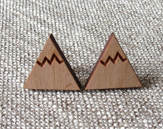 Mountain Earrings / Laser Cut Wood Studs / Nature Earrings / Wood Stud Earrings / Minimalist Jewelry / Hiking Camping Earrings