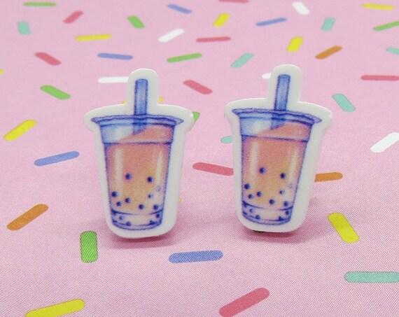 Kawaii Earrings Boba Bubble Tea Studs