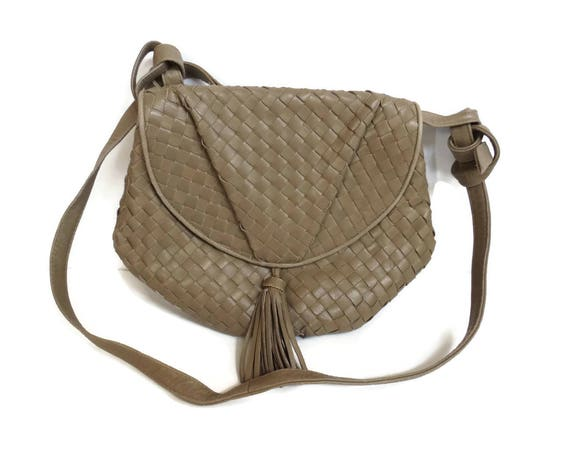 Woven Leather Purse 80s Vegan Shoulder Bag