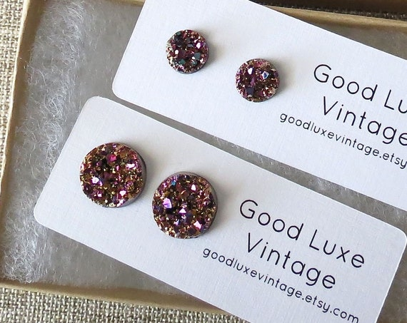 Pink Gold Druzy Earrings Crystal Studs Rose Gold Sparkly Sparkle 8mm 12mm Fake Plugs Gift for Her