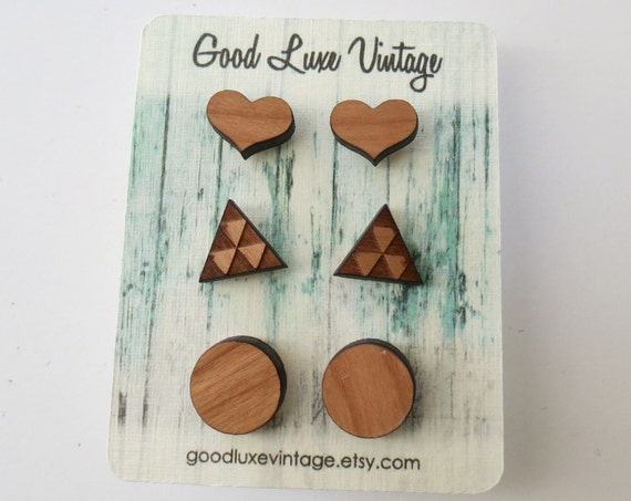 Wood Earring Set Studs Hearts Triangles Circles Faux Plugs Birthday Gift Bridesmaid Gift Boho Cute Natural Hipster Hippie