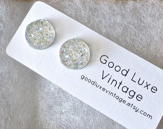 White Druzy Earrings Sparkly Studs