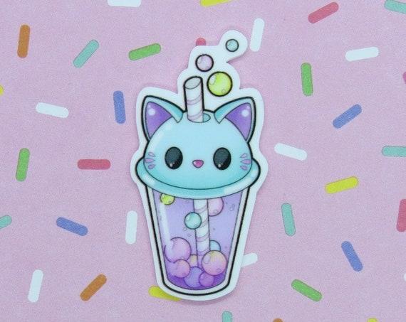Boba Cat Pin Kawaii Bubble Tea Kitty Brooch