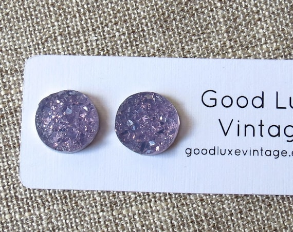 Pastel Purple Druzy Earrings Crystal Studs Light Lavender Sparkly Sparkle 12mm Fake Plugs Gift for Her