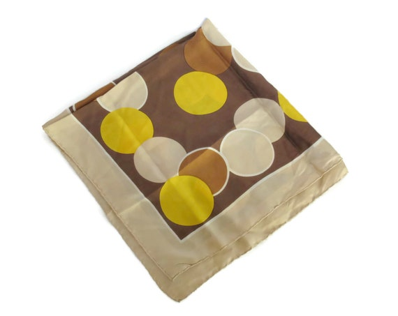 Mod Scarf 60s 1960s Hair Scarf Circles Mid Century Op Art Brown Yellow Beige Hair Wrap Square Scarf