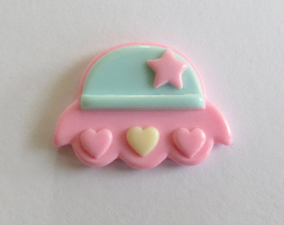 UFO Hair Clip / Alien Bobby Pin / Fairy Kei Accessory / Pastel Goth / Space Ship Hair Pin / Creepy Cute / 90's Girl
