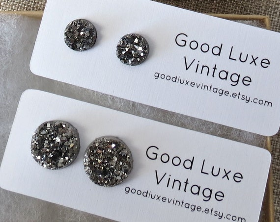 Gunmetal Druzy Earrings / Metallic Gray Druzy Studs / Sparkly Earrings / Faux Crystal Studs / 8mm 12mm / Gift for Her