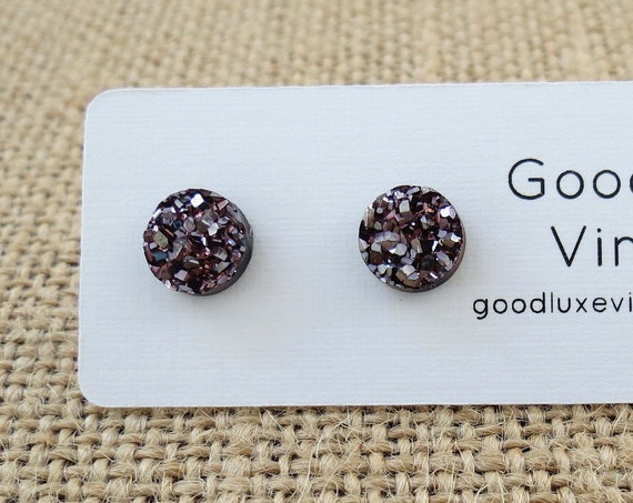 Metallic Rose Copper Druzy Earrings Sparkly Studs