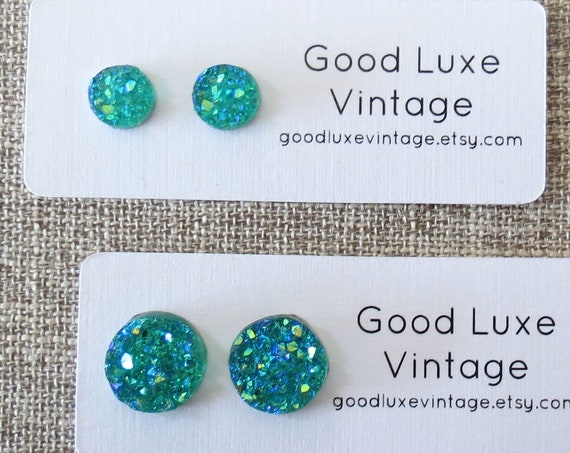 Teal Druzy Earrings / Teal Druzy Studs / Sparkly Earrings / Blue Druzy Studs / Faux Crystal Earrings / 8mm 12mm / Gift for Her