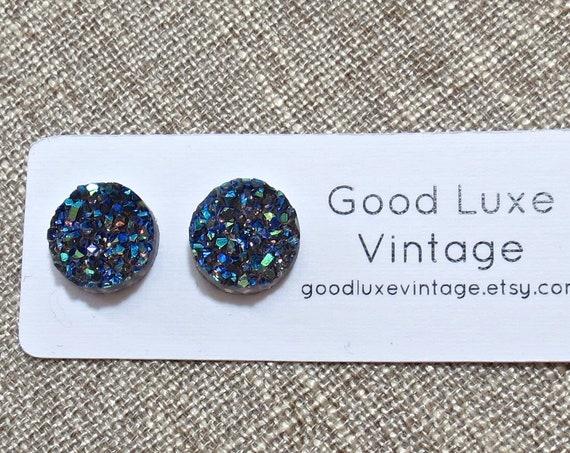Dark Gray Druzy Earrings / Rainbow Crystal Studs / Gray Rainbow Druzy Earrings / Sparkly Studs / 12mm / Fake Plugs / Gift for Her