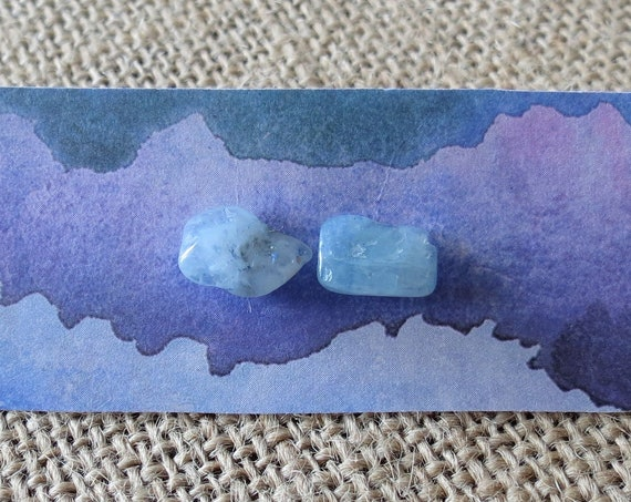 Aquamarine Stud Earrings Raw Gemstone Jewelry