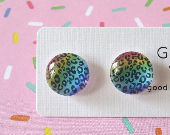 Leopard Earrings Rainbow Studs Punk Jewelry