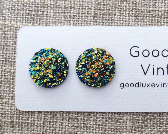 Metallic Rainbow Druzy Earrings / Iridescent Studs / Green Gold Druzy Studs / Sparkly Earrings / Faux Crystal Studs / 12mm / Gift for Her