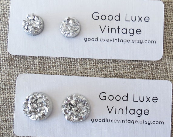 Silver Druzy Studs Sparkly Earrings