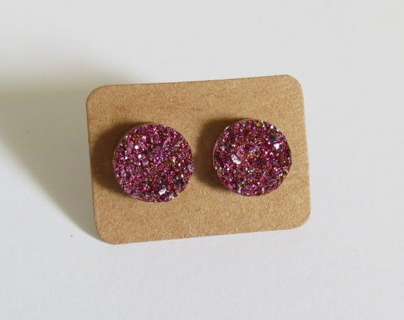 Magenta Pink Druzy Earrings Crystal Studs Metallic Sparkly Sparkle 12mm Fake Plugs Gift for Her