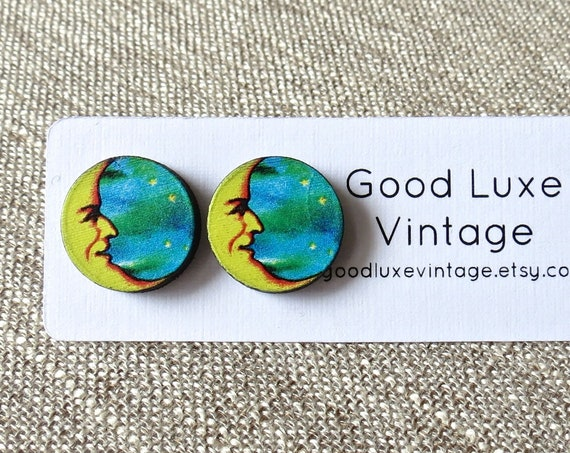 Crescent Moon Earrings / Laser Cut Wood Studs / Paper Moon Earrings / Wood Stud Earrings / Faux Plugs / Celestial Earrings