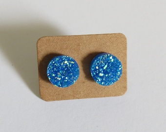 Blue Druzy Earrings Sparkly Stud Earrings Faux Crystal Turquoise 12mm Fake Plugs Glitter Sparkle Jewelry