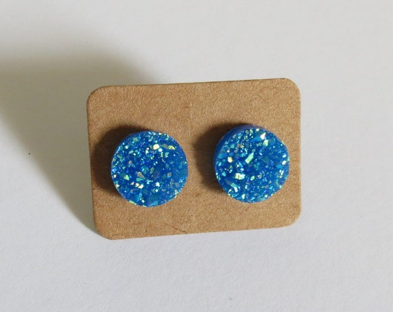 Turquoise Blue Druzy Earrings Crystal Studs Sparkly Sparkle 12mm Fake Plugs Gift for Her