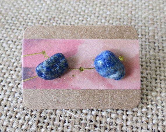 Lapis Lazuli Earrings Blue Stone Studs