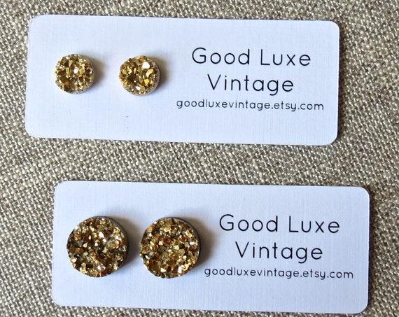 Gold Druzy Earrings Faux Drusy Studs