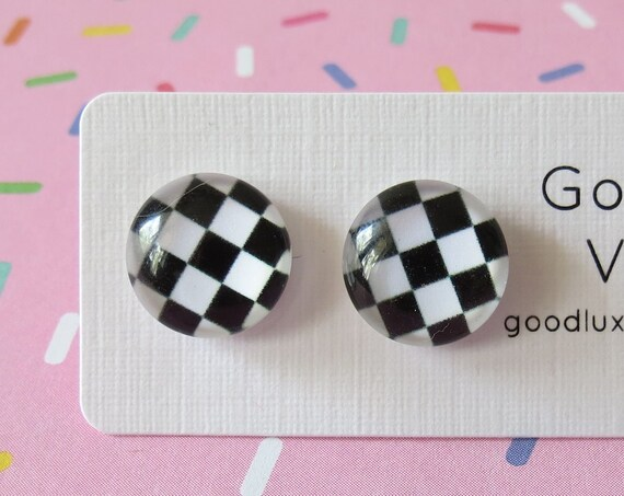 Checkered Earrings Ska Studs Punk Jewelry