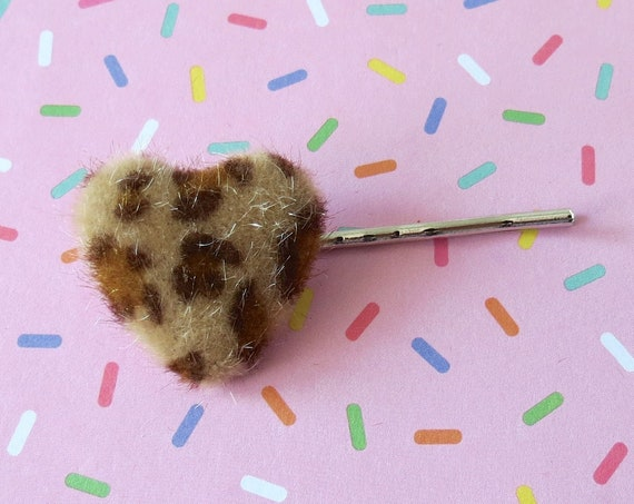 Fuzzy Leopard Heart Bobby Pin Barrette Hair Clip