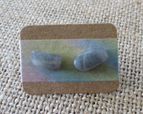 Moonstone Stud Earrings Raw Gemstone Jewelry