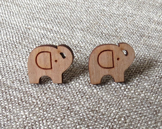 Elephant Earrings / Laser Cut Wood Studs / Elephant Studs / Wood Stud Earrings / Nature Animal Earrings / Gift for Her