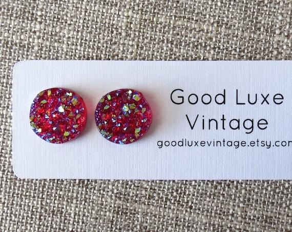 Fuchsia Druzy Earrings / Pink Druzy Studs / Iridescent Earrings / Pink Druzy Earrings / Sparkly Studs / Faux Crystal Earrings / 12mm