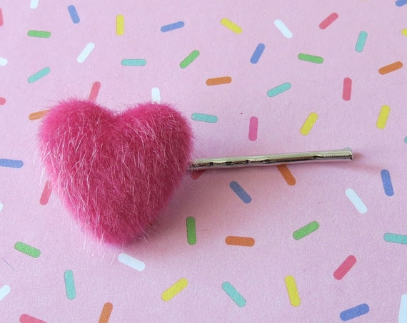 Fuzzy Heart Bobby Pin Pink Barrette Hair Clip